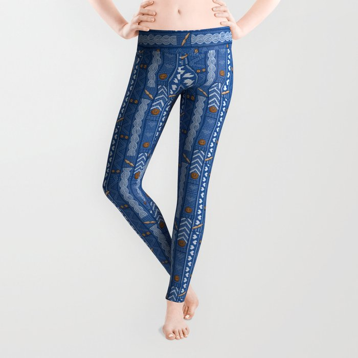 Scarves Knitted Buttoned - Blue Leggings