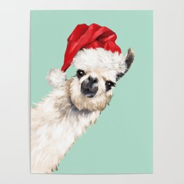 Christmas Sneaky Llama Poster