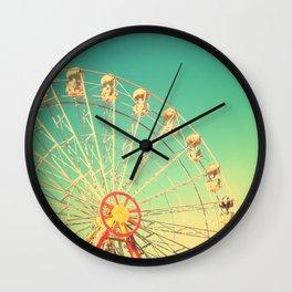 All the happy days - Carnival, ferris wheel , turquoise green, vintage retro, fall autumn, blue sky Wall Clock