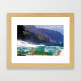 Napali Crashing Waves - Kauai Northshore Framed Art Print