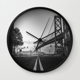 Black and White City Bridge Wall Clock
