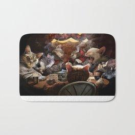 Cats play poker Bath Mat