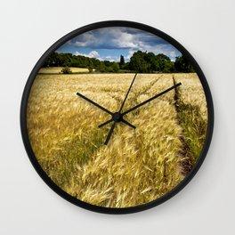Golden wheat field poetry Wall Clock