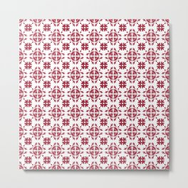 Crimson Red Flourish Flower Pattern Metal Print