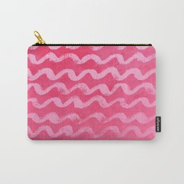 Neon Pink Wave Texture Pattern Carry-All Pouch