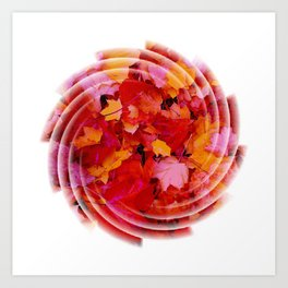 Swirling colored leaves Art Print
