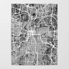 Kansas City Missouri City Map Poster