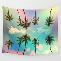 surfboard Wall Tapestries featuring Palm trees  by mark ashkenazi