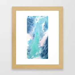 Blue Fluid Painting Waves Fluid Acrylic Abstract Framed Art Print