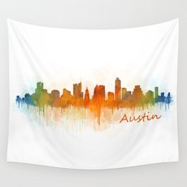 Austin Texas, City Skyline, watercolor  Cityscape Hq v3 Wall Tapestry
