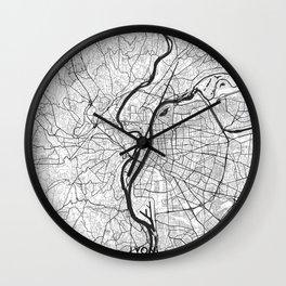 Lyon Map Gray Wall Clock