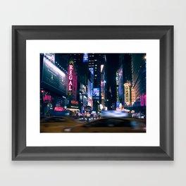 Neon Signs in New York, USA / Night City Series Framed Art Print
