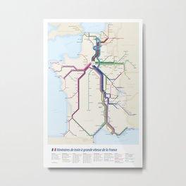 Itinéraires de train à grande vitesse de la France Metal Print