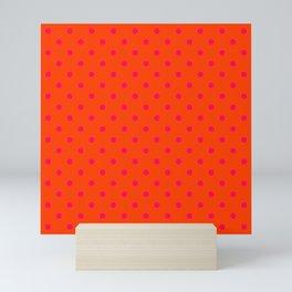 Orange Pop and Hot Neon Pink Polka Dots Mini Art Print