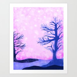 Blue ghost trees on pink speckled sky Art Print