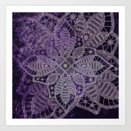 big lace star on black Art Print