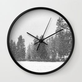 Snow Days // Snowy Tree Black and White Winter Landscape Photography Ski Snowboard Woods Wall Decor Wall Clock
