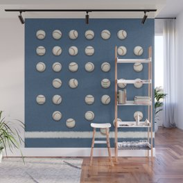 Balls On Blue Field Wall Mural