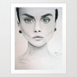 portrait of Cara Delevigne Art Print