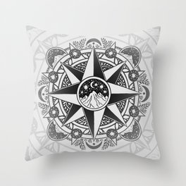 Journey to Moon Mountain | Black & Grays Throw Pillow