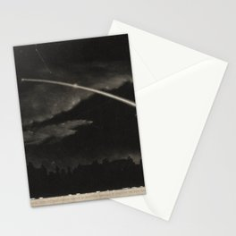 Wood engraving of a comet in the night sky (c. 1860) Stationery Cards