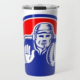 Baseball Catcher Oval Woodcut Travel Mug