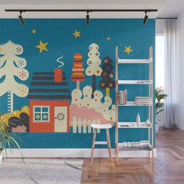 Festive Winter Hut Wall Mural