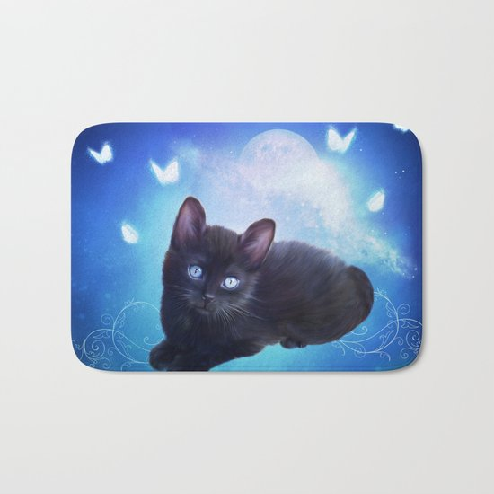 Cute little black kitten Bath Mat