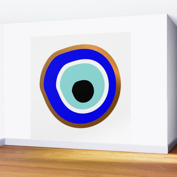 Grecian Gold evil eye in blue on white Wall Mural