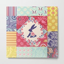 Bunnies and Blooms Quilt Blocks Metal Print