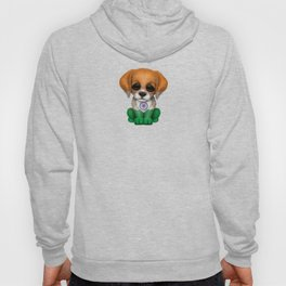 Cute Puppy Dog with flag of India Hoody