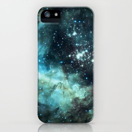 Teal Green Galaxy : Celestial Fireworks iPhone Case