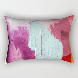 Desert Daydreams [3]: a colorful abstract mixed media piece in purple blue pinks and orange Rectangular Pillow