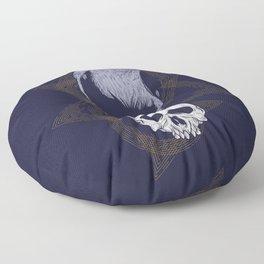 Dark Vintage Styled Macabre Crow and Skull Ponder Life Floor Pillow