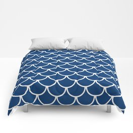 Navy Blue Fish Scales Pattern Comforters