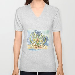 Watercolor Under Sea Collection: Shells and Sea Grass Unisex V-Neck