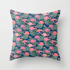 Flamingos Night Throw Pillow