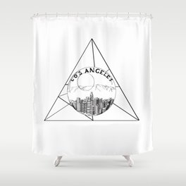 Graphic Geometric Shape Gray Los Angeles in a Bottle Shower Curtain