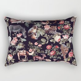 Animals and Floral Pattern Rectangular Pillow