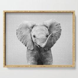 Baby Elephant - Black & White Serving Tray