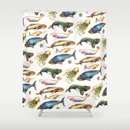 Whales and a Little Squid Shower Curtain