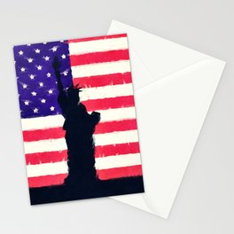 Patriotic American Flag Stationery Cards