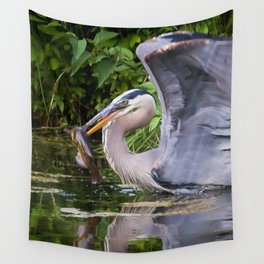 Heron and bullhead take-off Wall Tapestry