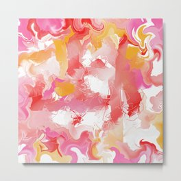 Abstract in Red, Yellow, Pink and White Metal Print