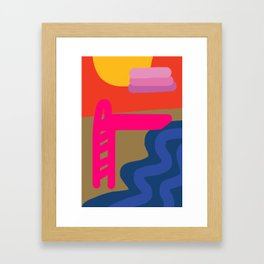Sunset on the Water #1: End of Summer Illustration Framed Art Print