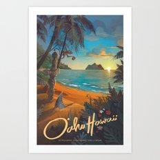 Retro Hawaii North Shore Travel Poster Art Print