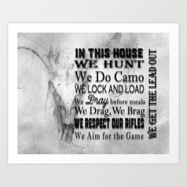 Hunter's In this House Sign Art Print