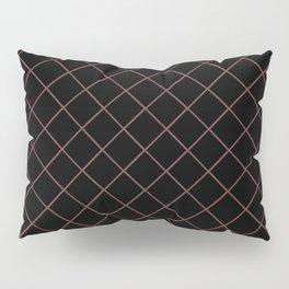 Pantone Red Pear Thin Line Stripe Grid (Pinstripe Pattern) on Black Pillow Sham