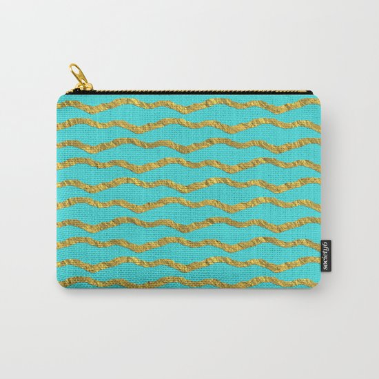 Golden waves - Abstract geometrical pattern on aqua backround Carry-All Pouch