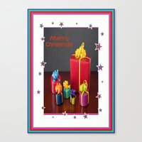 gift card Canvas Prints featuring Merry Christmas Gift Boxes Holiday Card  by taiche